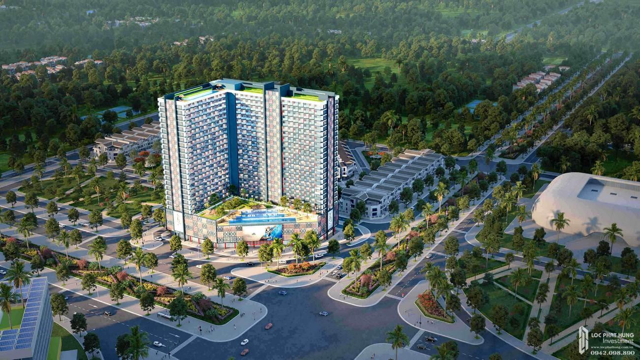 Phối cảnh tổng thể dự án Condotel Apec Mandala Wyndham Huế Hương Thủy Khu Đô Thị An Vân Dương chủ đầu tư Apec Group
