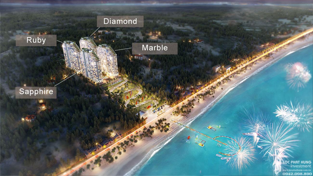 Phối cảnh tổng thể dự án Condotel Apec Mandala Wyndham Mũi Né Phan Thiết Đường DT716 chủ đầu tư Tập đoàn Apec