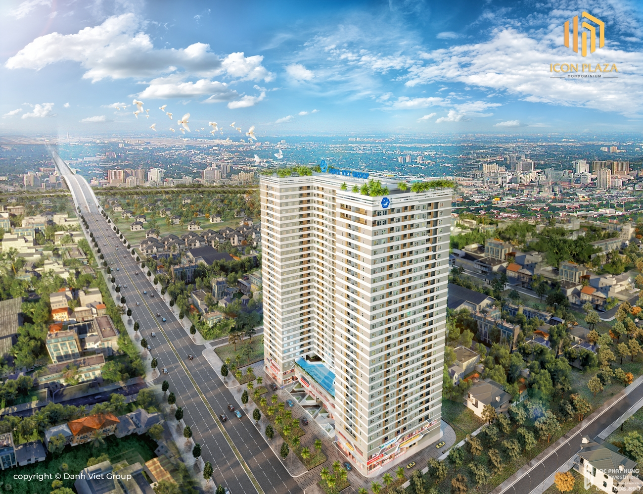Phối cảnh tổng thể dự án căn hộ chung cư Icon Plaza Thuan An Đường Vòng Xoay An Phú chủ đầu tư Danh Việt Group