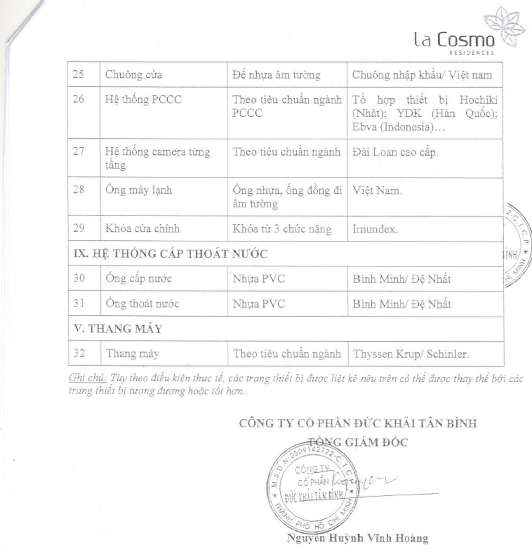 Danh mục nội thất bàn giao dự án căn hộ La Cosmo Residences Quận Tân Bình