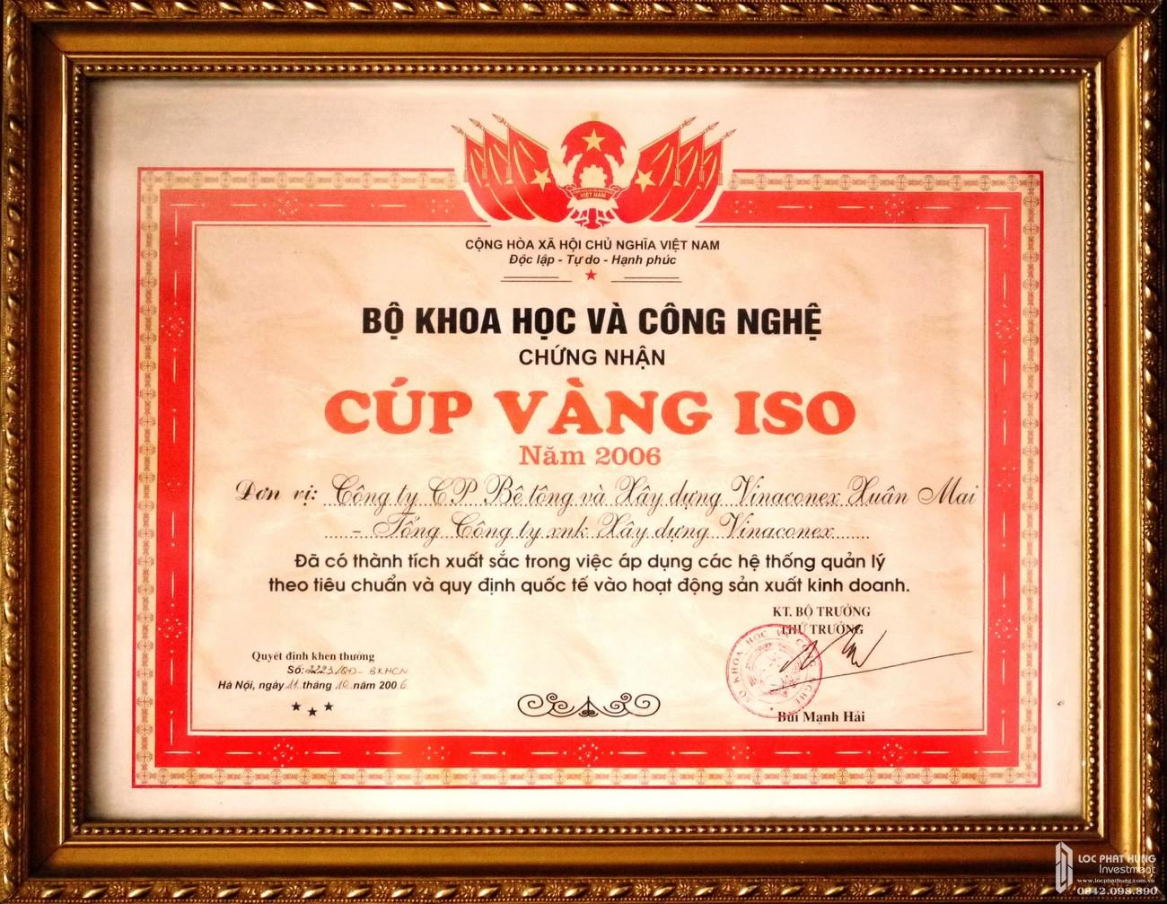 Cúp vàng ISO - Thành tựu đạt được của chủ đầu tư Xuân Mai Corp