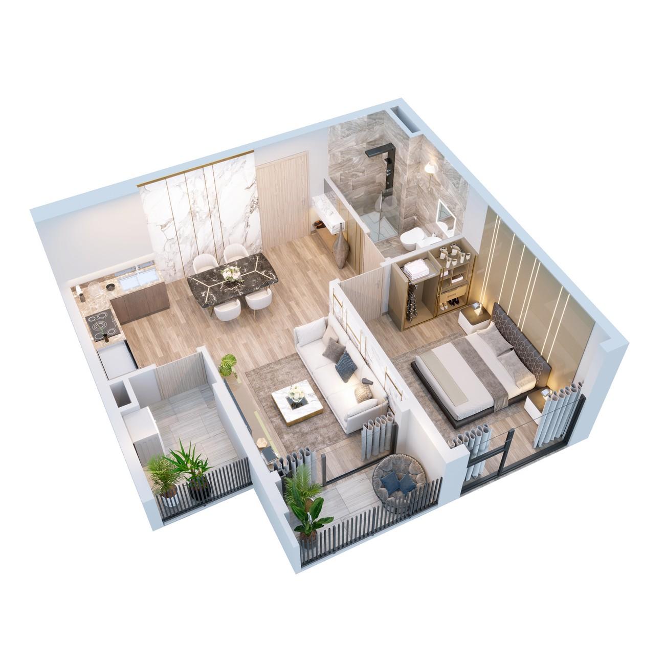 Thiết kế căn hộ Happy One Central Phú Hòa Đường Đại Lộ Thủ Dầu Một chủ đầu tư Ốc Vạn Xuân
