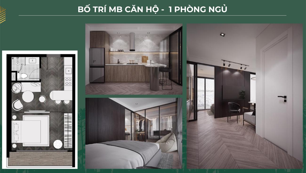 Thiết kế loại 1 phòng ngủ dự án căn hộ chung cư Anderson Park Bình Dương