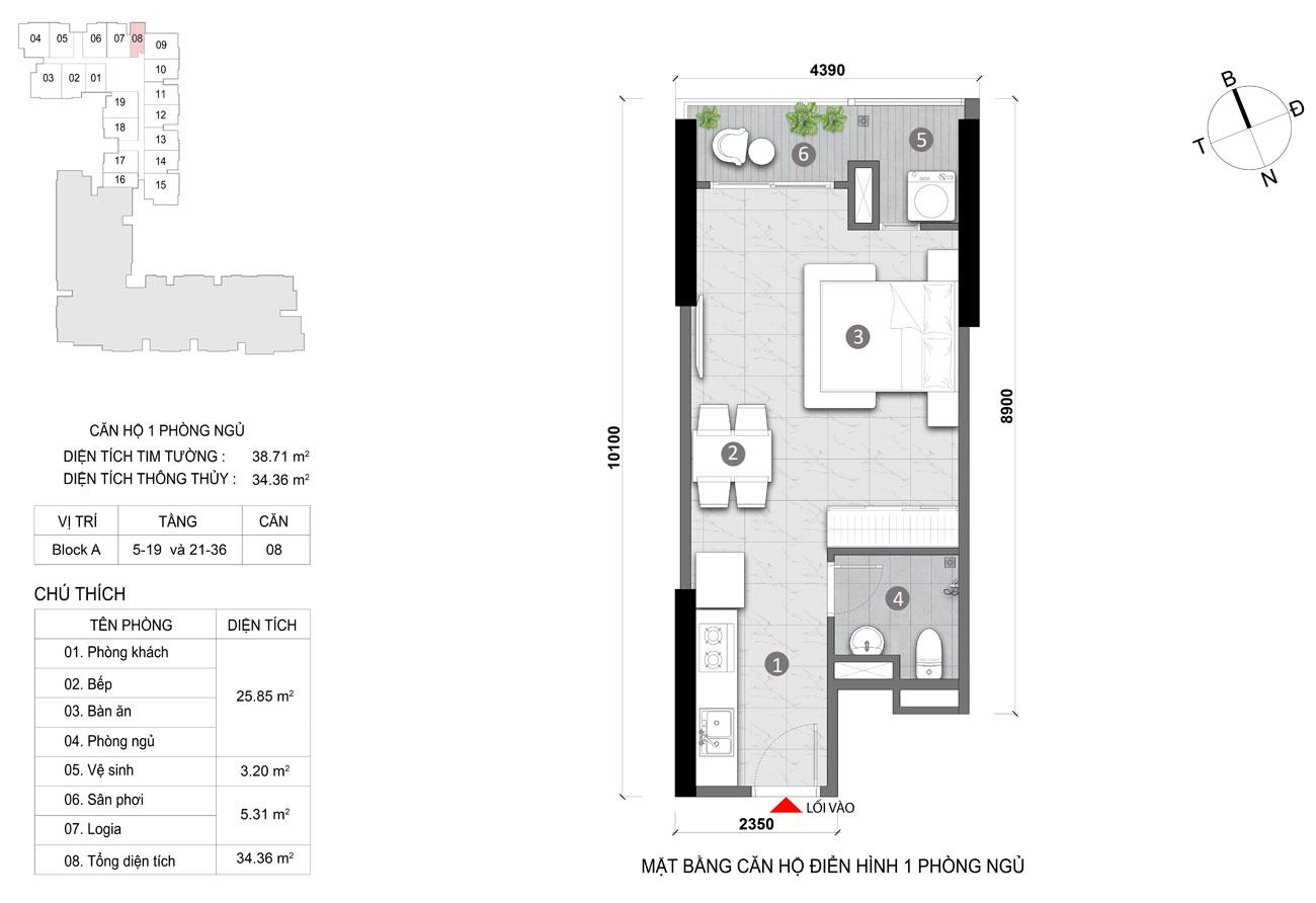 Thiết kế chi tiết căn hộ diện tích 34m2 dự án căn hộ chung cư Opal Skyline Thuận An Đường Nguyễn Văn Tiết chủ đầu tư Đất Xanh