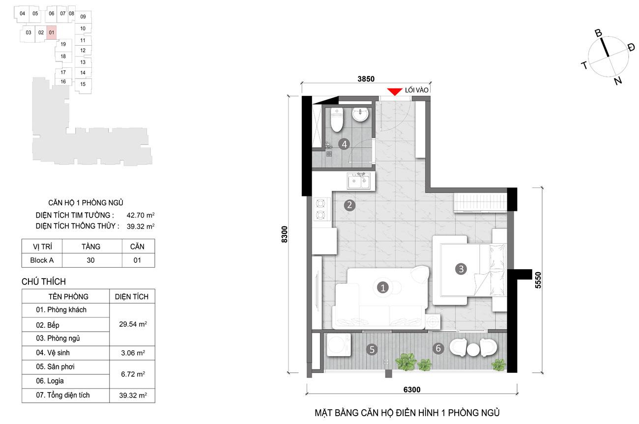 Thiết kế chi tiết căn hộ diện tích 39m2 dự án căn hộ chung cư Opal Skyline Thuận An Đường Nguyễn Văn Tiết chủ đầu tư Đất Xanh
