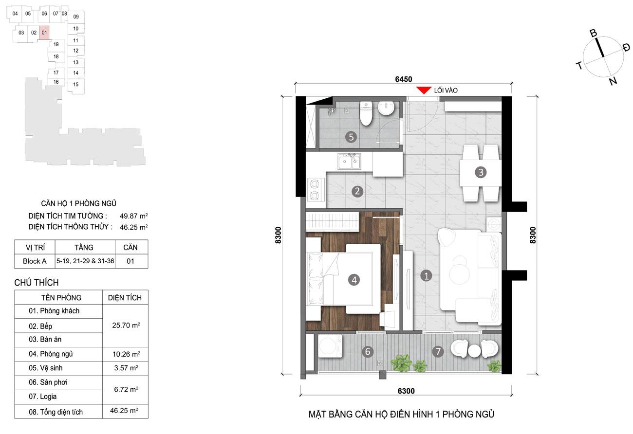 Thiết kế chi tiết căn hộ diện tích 46m2 dự án căn hộ chung cư Opal Skyline Thuận An Đường Nguyễn Văn Tiết chủ đầu tư Đất Xanh