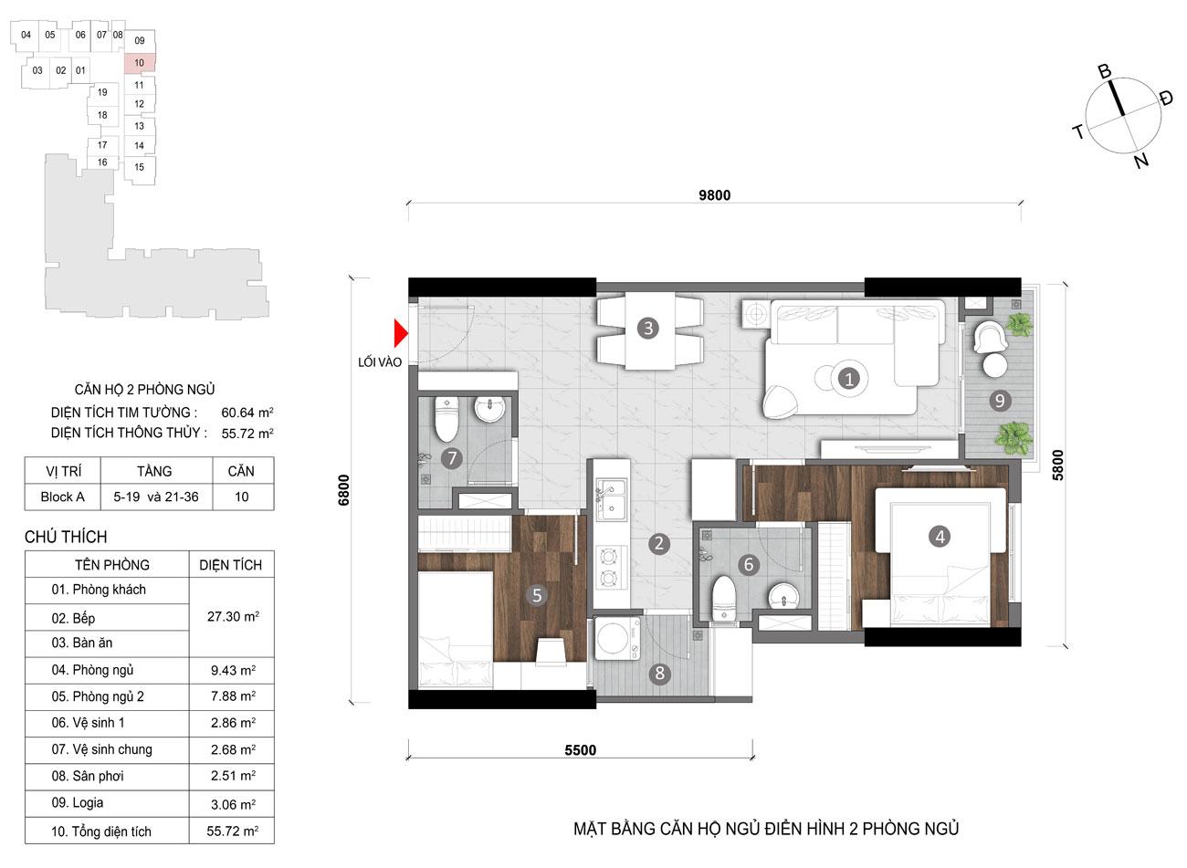 Thiết kế chi tiết căn hộ diện tích 55m2 dự án căn hộ chung cư Opal Skyline Thuận An Đường Nguyễn Văn Tiết chủ đầu tư Đất Xanh