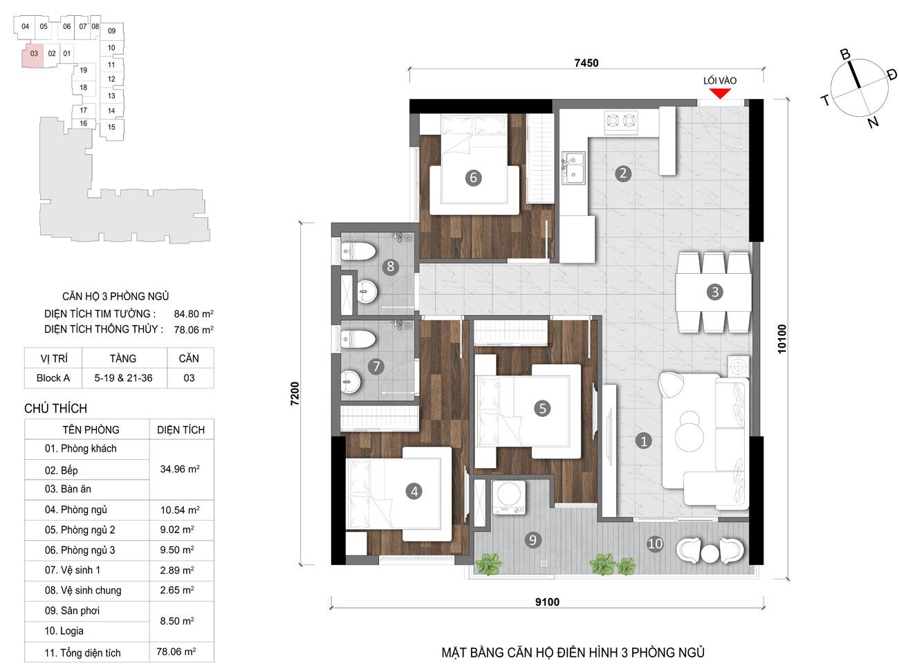 Thiết kế chi tiết căn hộ diện tích 78m2 dự án căn hộ chung cư Opal Skyline Thuận An Đường Nguyễn Văn Tiết chủ đầu tư Đất Xanh