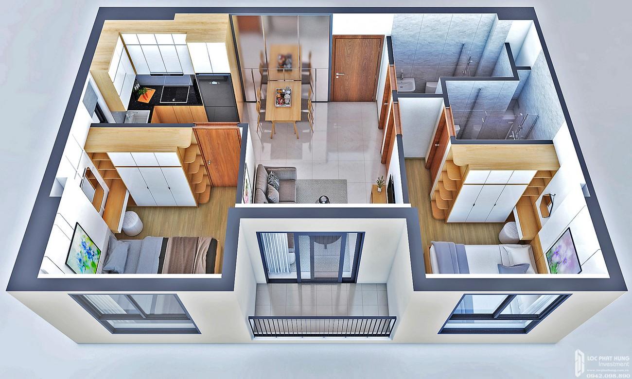 Thiết kế căn hộ loại A1 Bcons Bee Dĩ An Đường Trần Đại Nghĩa chủ đầu tư Bcons
