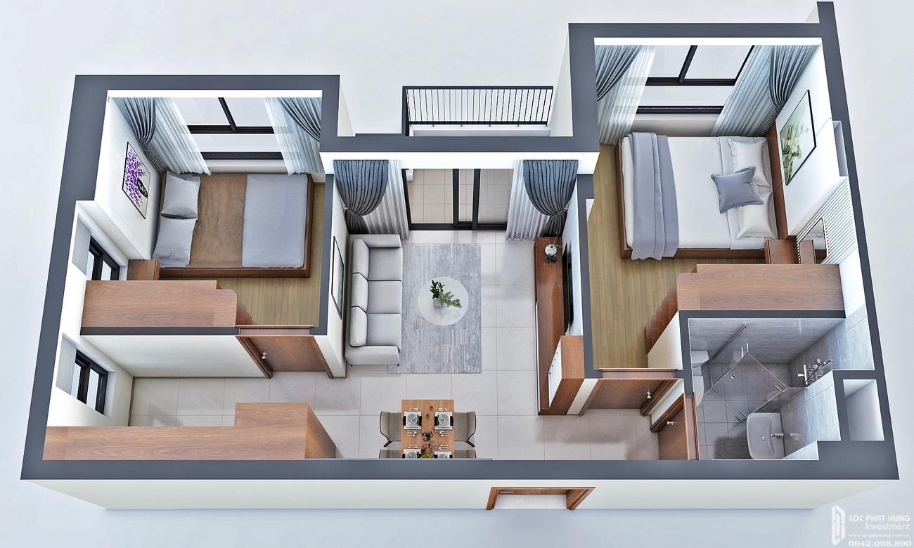 Thiết kế căn hộ loại B Bcons Bee Dĩ An Đường Trần Đại Nghĩa chủ đầu tư Bcons