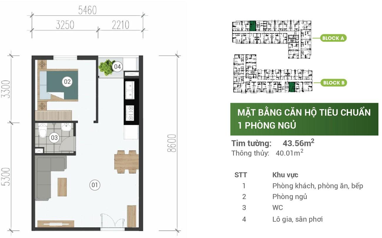 Thiết kế chi tiết căn hộ Parkview Apartment Thuận An 43m2