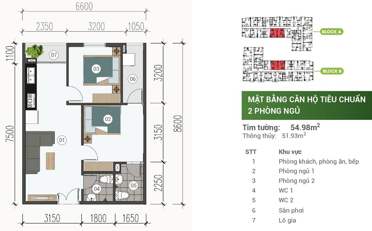 Thiết kế chi tiết căn hộ Parkview Apartment Thuận An 54m2