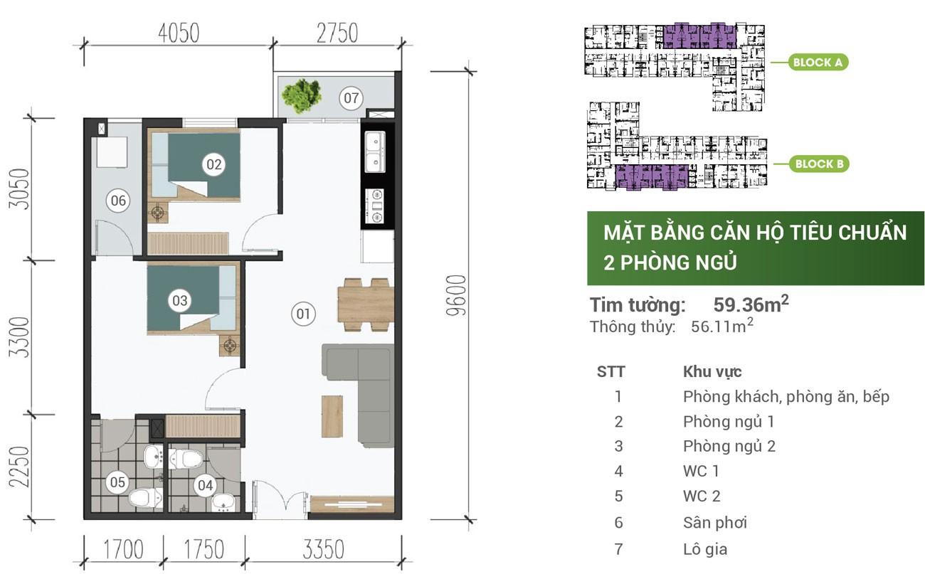 Thiết kế chi tiết căn hộ Parkview Apartment Thuận An 59m2