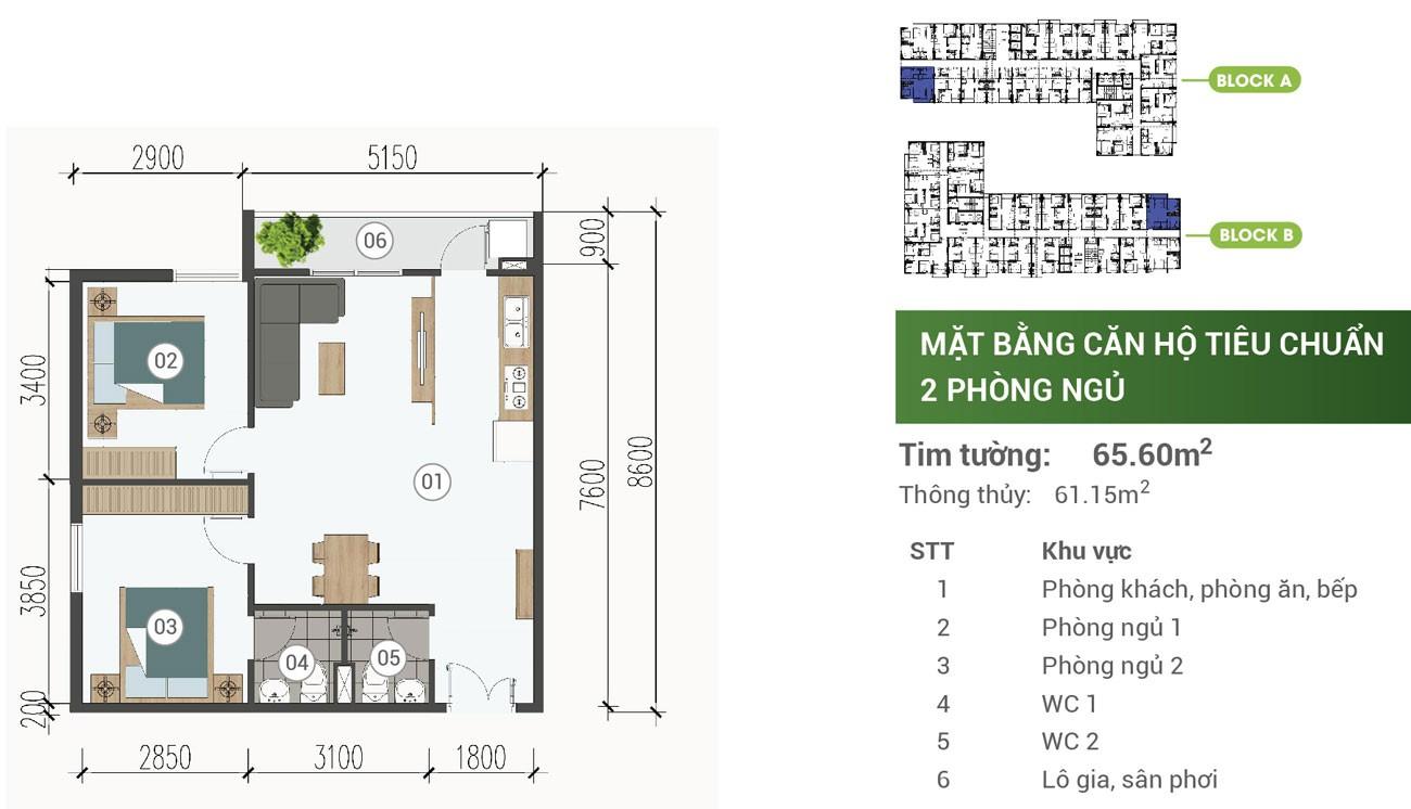 Thiết kế chi tiết căn hộ Parkview Apartment Thuận An 65.6m2