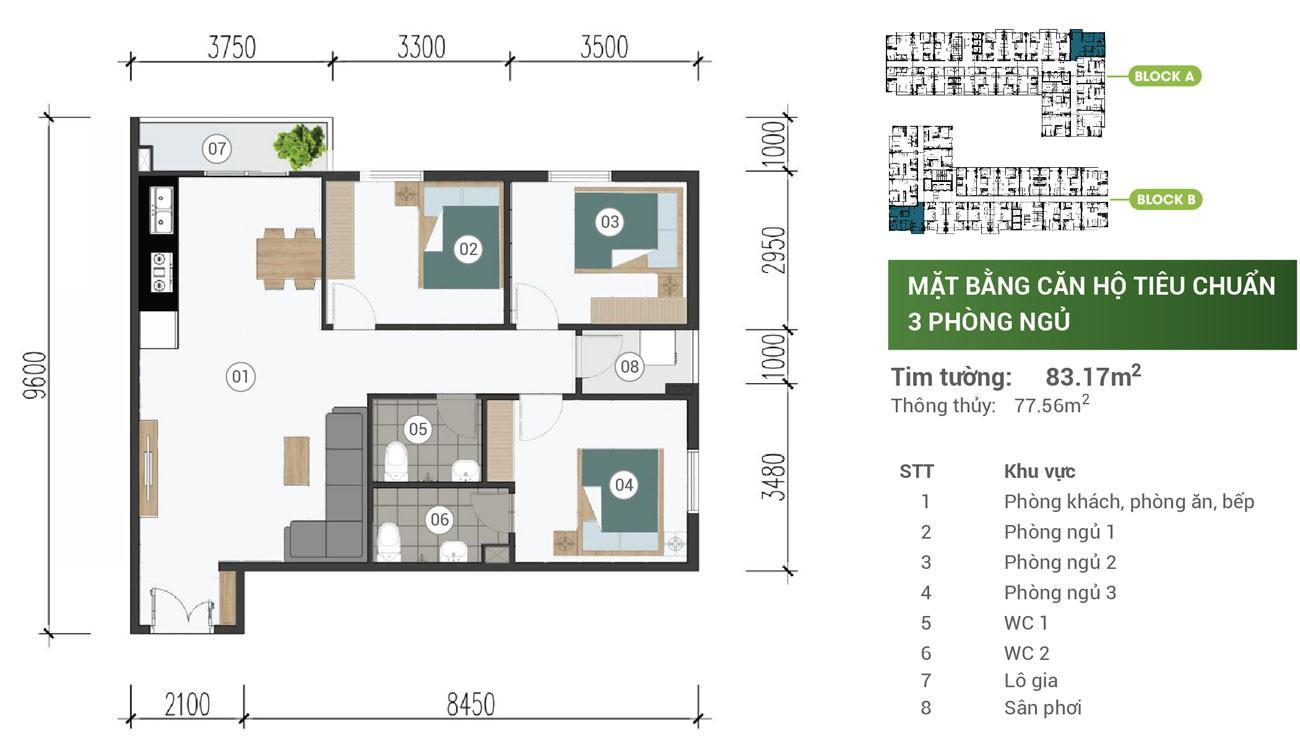 Thiết kế chi tiết căn hộ Parkview Apartment Thuận An 83m2