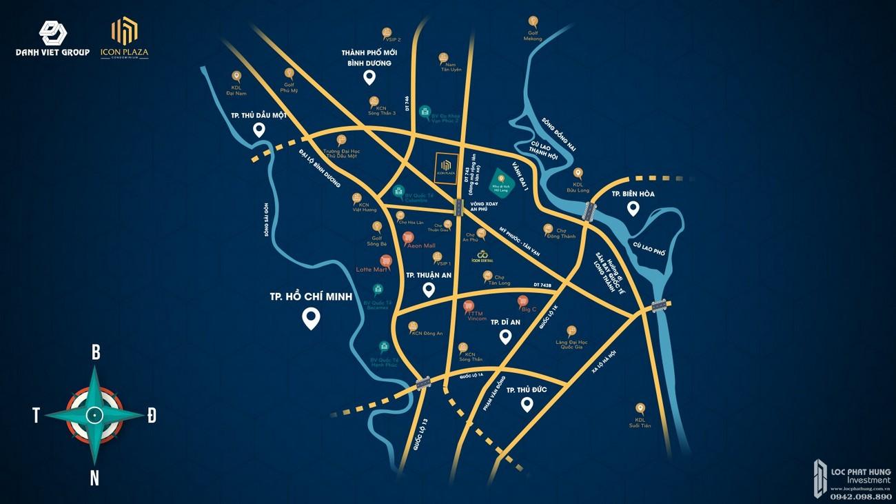 Vị trí địa chỉ dự án căn hộ chung cư Icon Plaza Thuan An Đường Vòng Xoay An Phú chủ đầu tư Danh Việt Group