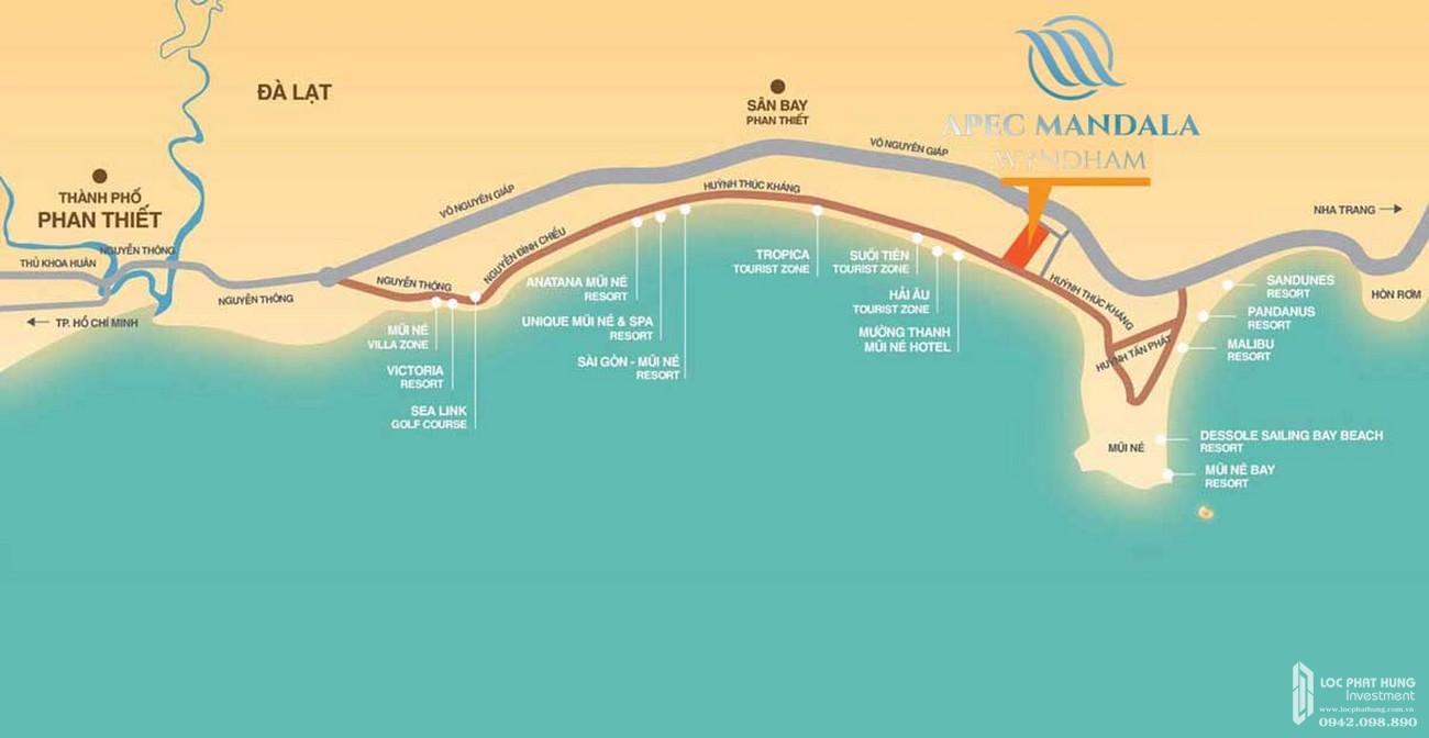 Vị trí địa chỉ dự án Condotel Apec Mandala Wyndham Mũi Né Phan Thiết Đường DT716 chủ đầu tư Tập đoàn Apec
