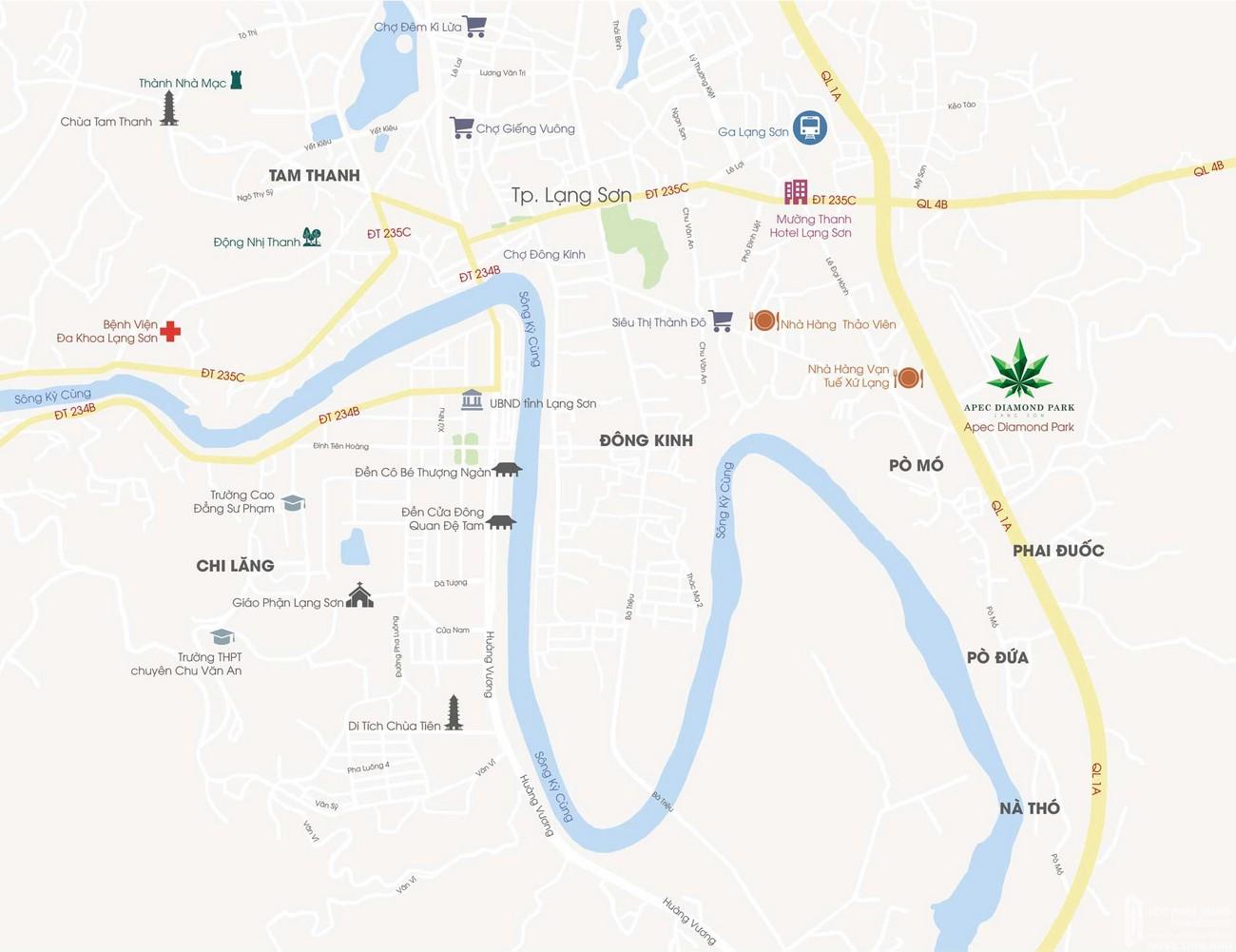 Vị trí địa chỉ dự án căn hộ chung cư Apec Diamond Park Lạng Sơn chủ đầu tư Apec Group