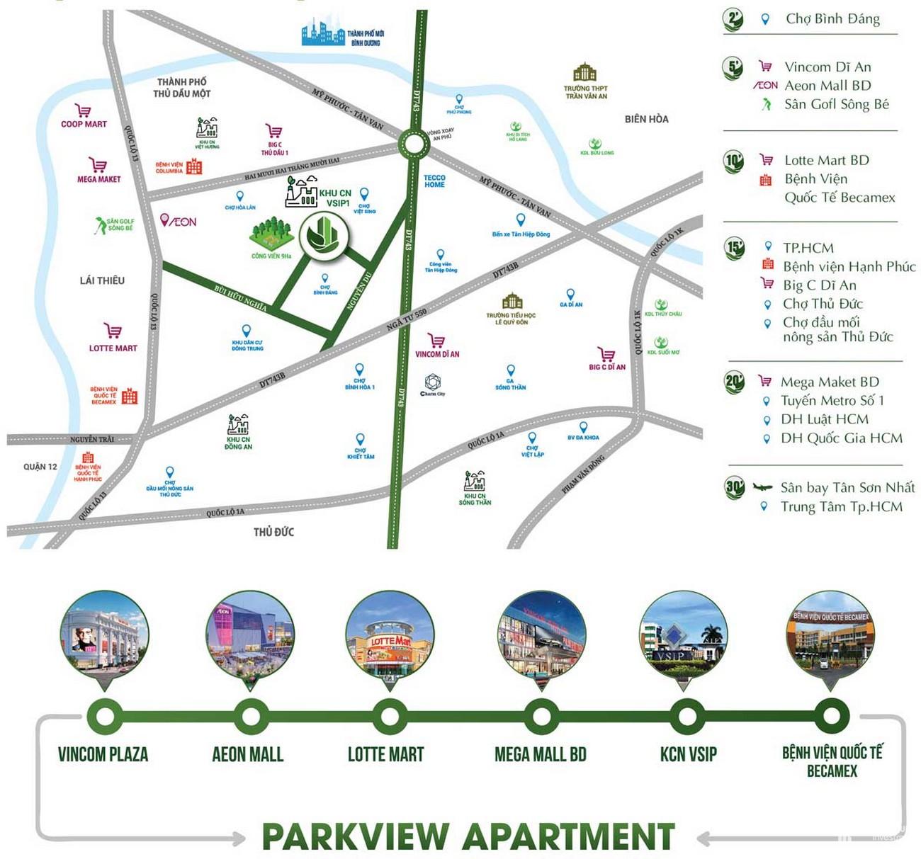 Vị trí địa chỉ dự án căn hộ chung cư Parkview Apartment Thuận An