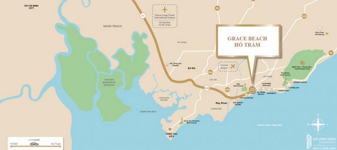 Vị trí địa chỉ dự án condotel và biệt thự cao cấp Intercontinental Bình Châu Grace Celina Vũng Tàu