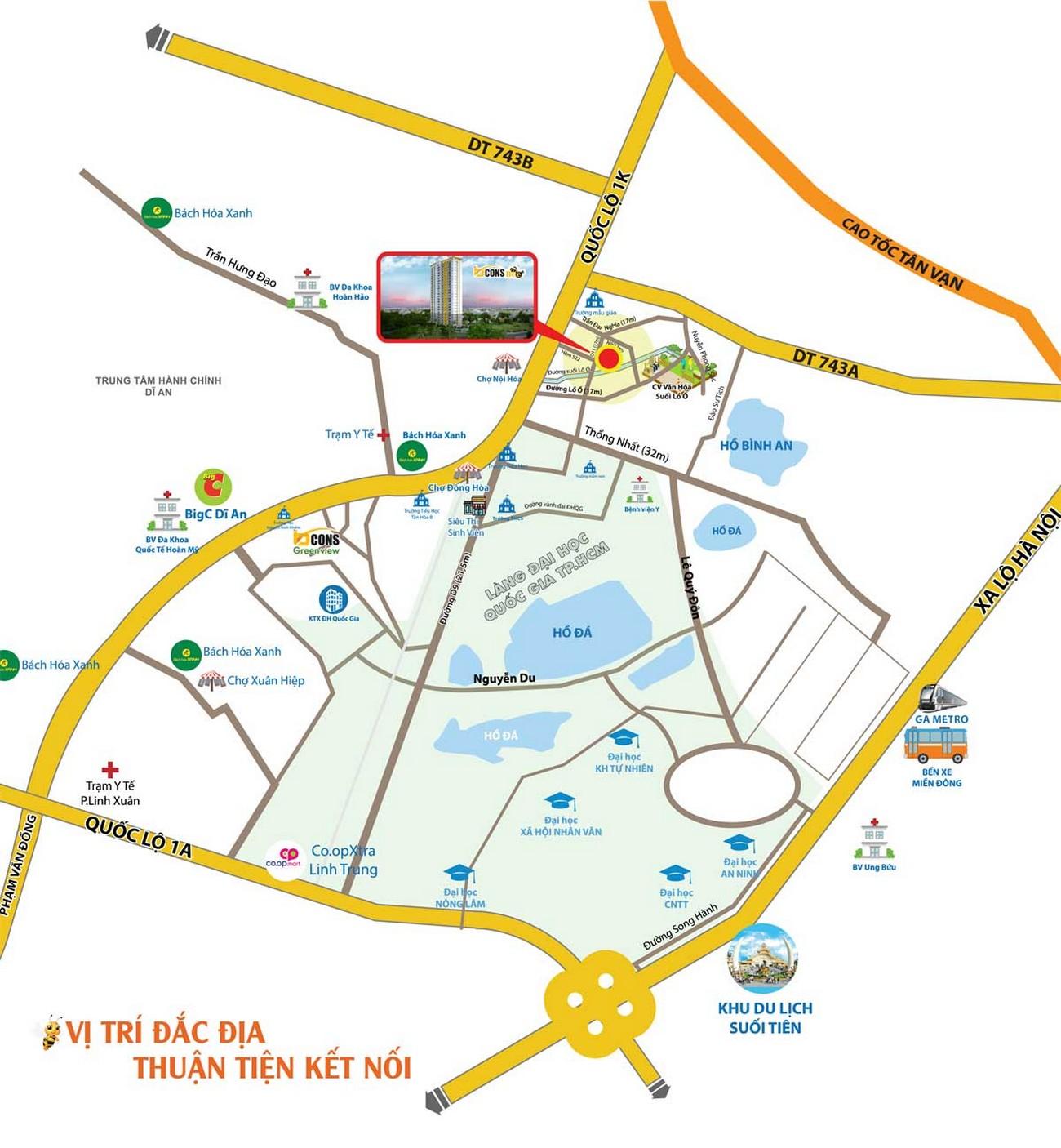 Vị trí địa chỉ dự án căn hộ chung cư Bcons Bee Dĩ An Đường Trần Đại Nghĩa chủ đầu tư Bcons