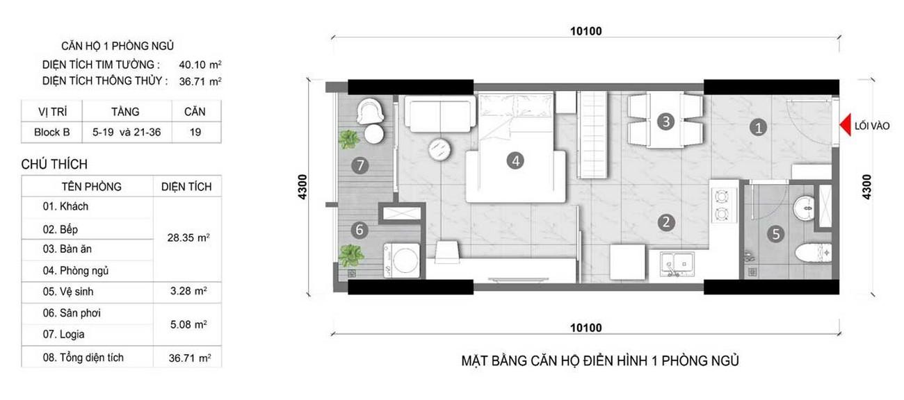 Thiết kế căn hộ 1 phòng ngủ 40m2 dự án Căn Hộ chung cư Opal Skyline Thuận An Đường Quốc lộ 13 chủ đầu tư Đất Xanh Group