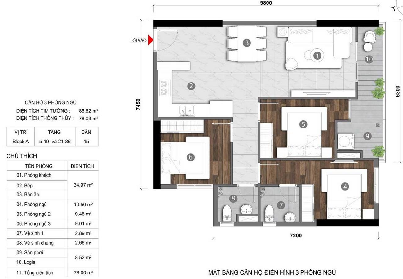Thiết kế căn hộ 3 phòng ngủ 85m2 dự án Căn Hộ chung cư Opal Skyline Thuận An Đường Quốc lộ 13 chủ đầu tư Đất Xanh Group