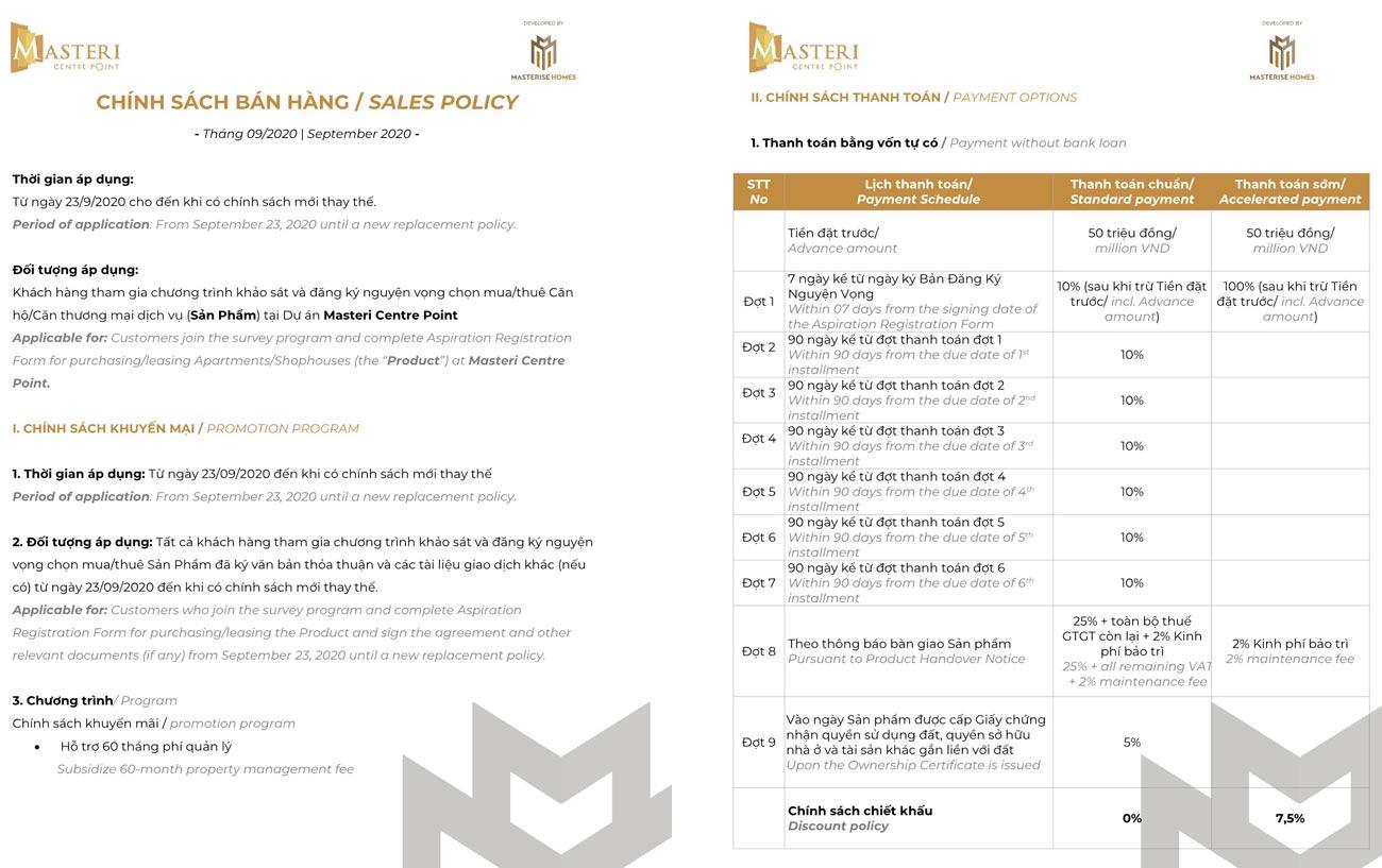 Chính sách ưu đãi cực khủng khi thanh toán dự án Masteri Centre Point
