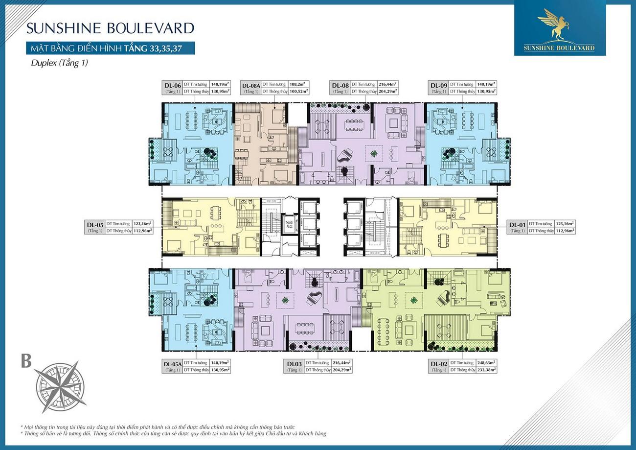 Mặt bằng dự án căn hộ chung cư Sunshine Boulevard Quận Thanh Xuân Đường Khuất Duy Tiến chủ đầu tư Sunshine Group