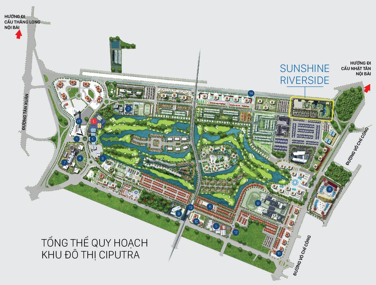Mặt bằng dự án căn hộ chung cư Sunshine Riverside Quận Tây Hồ KĐT Ciputra chủ đầu tư Sunshine Group