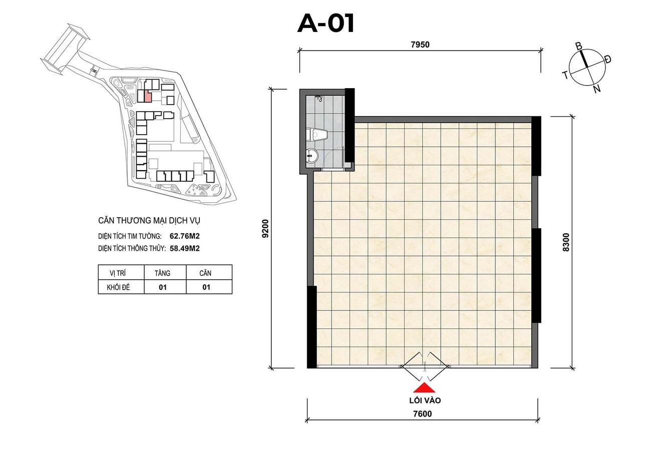 Mặt bằng căn hộ thương mại dịch vụ A-01 dự án Opal Skyline Đất Xanh