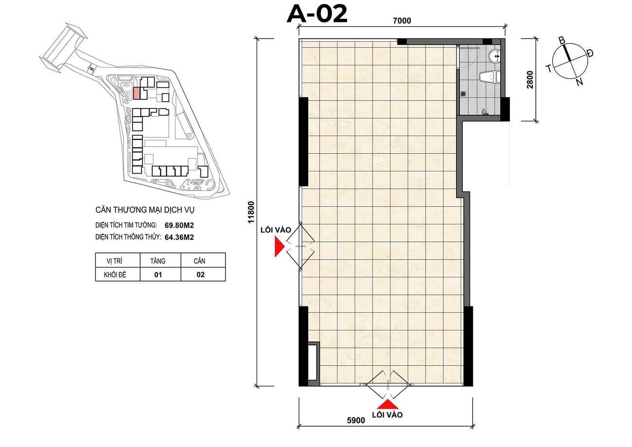 Mặt bằng căn hộ thương mại dịch vụ A-02 dự án Opal Skyline Đất Xanh