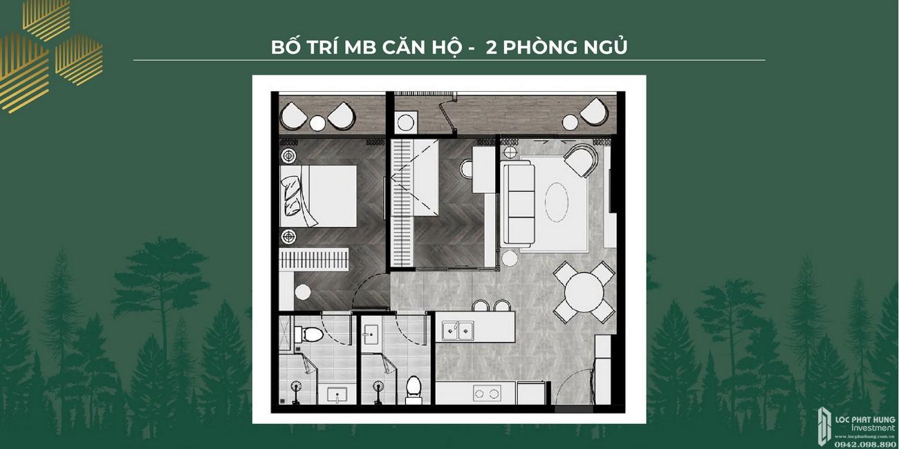Mặt bằng căn 2 phòng ngủ dự án Lavita Thuận An Đường Quốc lộ 13 chủ đầu tư Quốc Cường Gia Lai