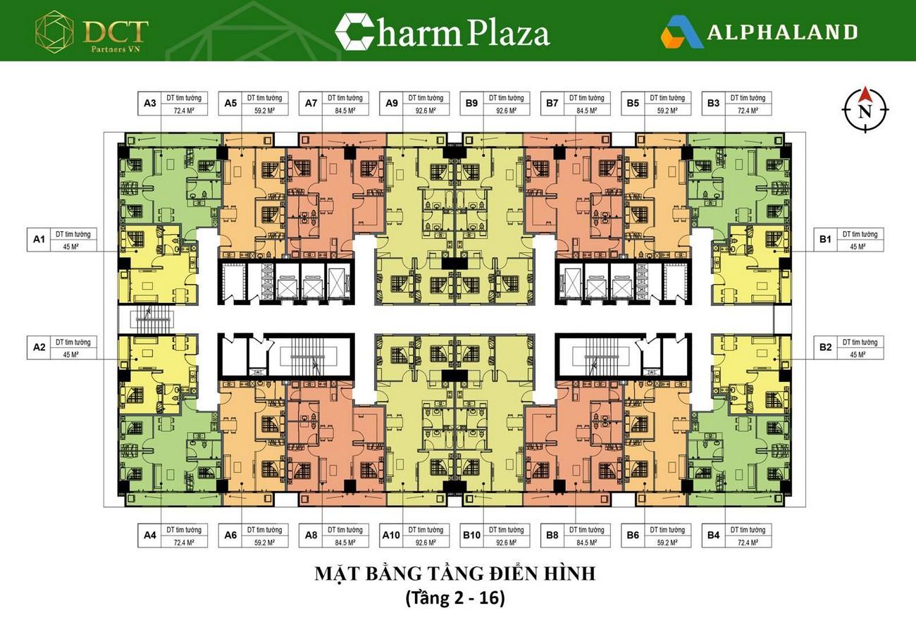 Mặt bằng dự án căn hộ chung cư Charm Plaza Dĩ An Đường ĐT743B chủ đầu tư DCT GROUP