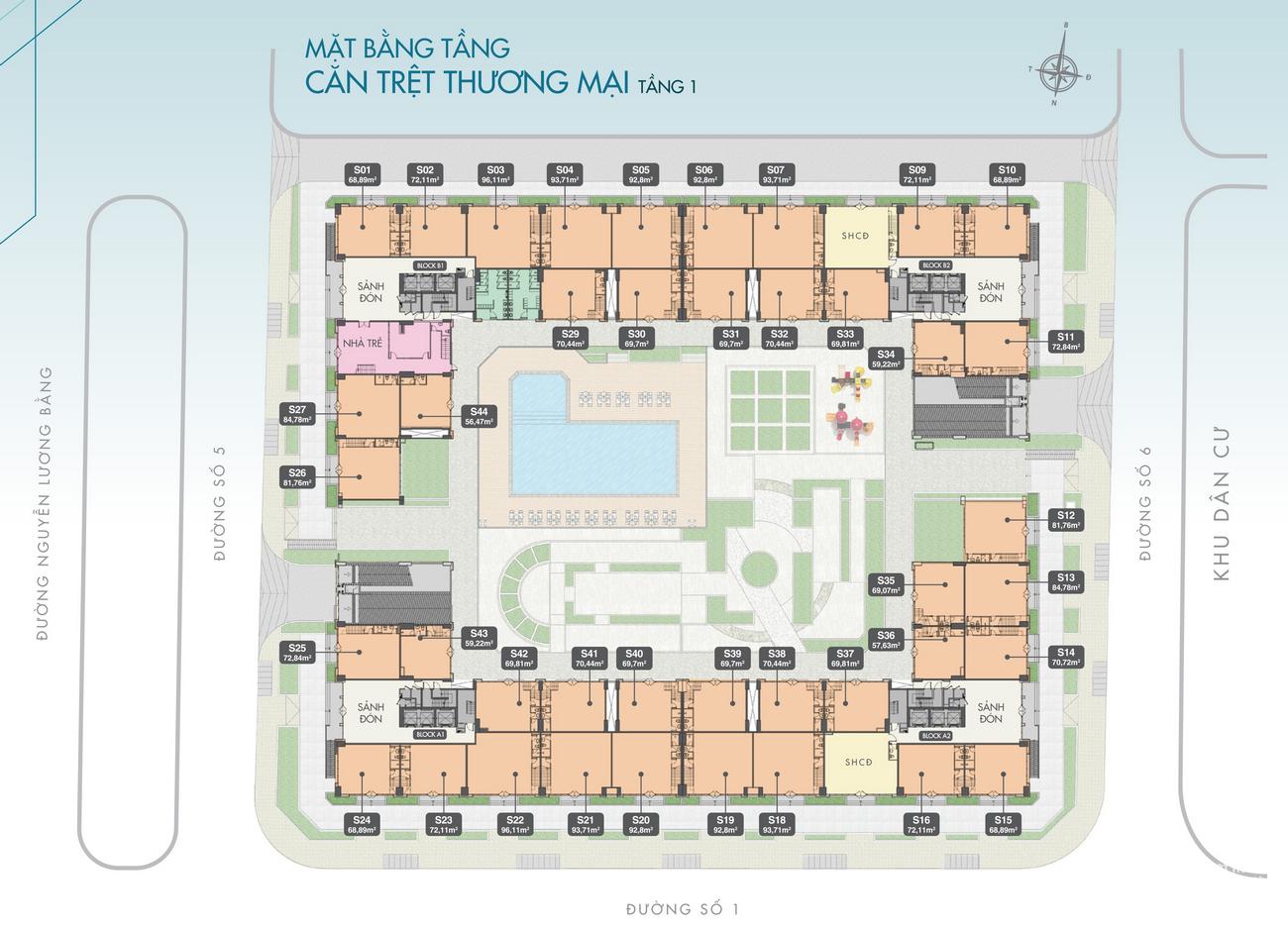 Mặt bằng dự án căn hộ chung cư Q7 Boulevard Quận 7 Đường Nguyễn Lương Bằng chủ đầu tư Hưng Thịnh