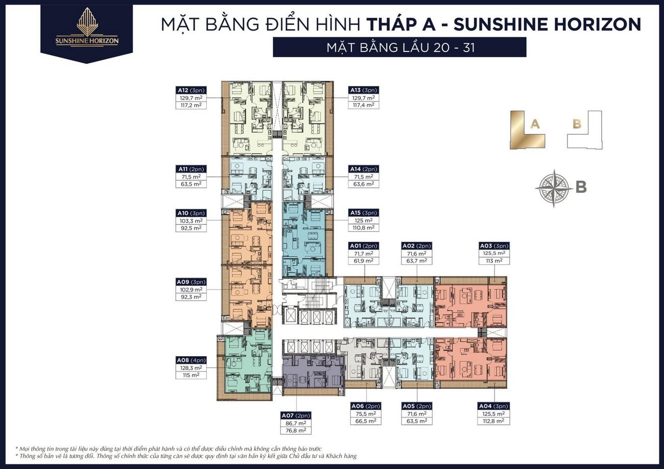 Mặt bằng dự án căn hộ chung cư Sunshine Horizon Quận 4 Đường Tôn Thất Thuyết chủ đầu tư Sunshine Group