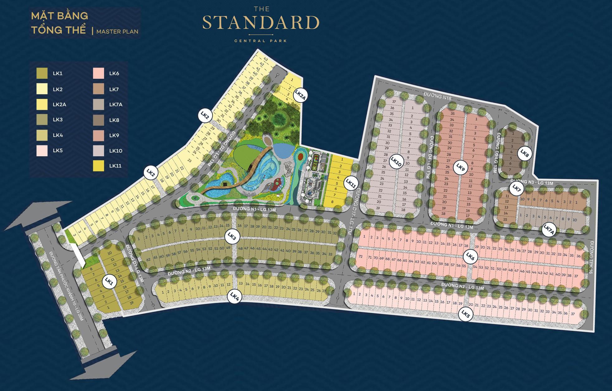 Mặt bằng phân lô dự án nhà phố The Standard Central Park Bình Dương
