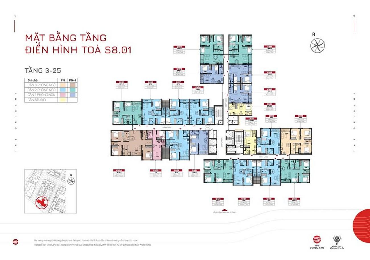 Mặt bằng tòa S8.01 dự án căn hộ chung cư The Origami Quận 9 Đường Nguyễn Xiển chủ đầu tư Vingroup