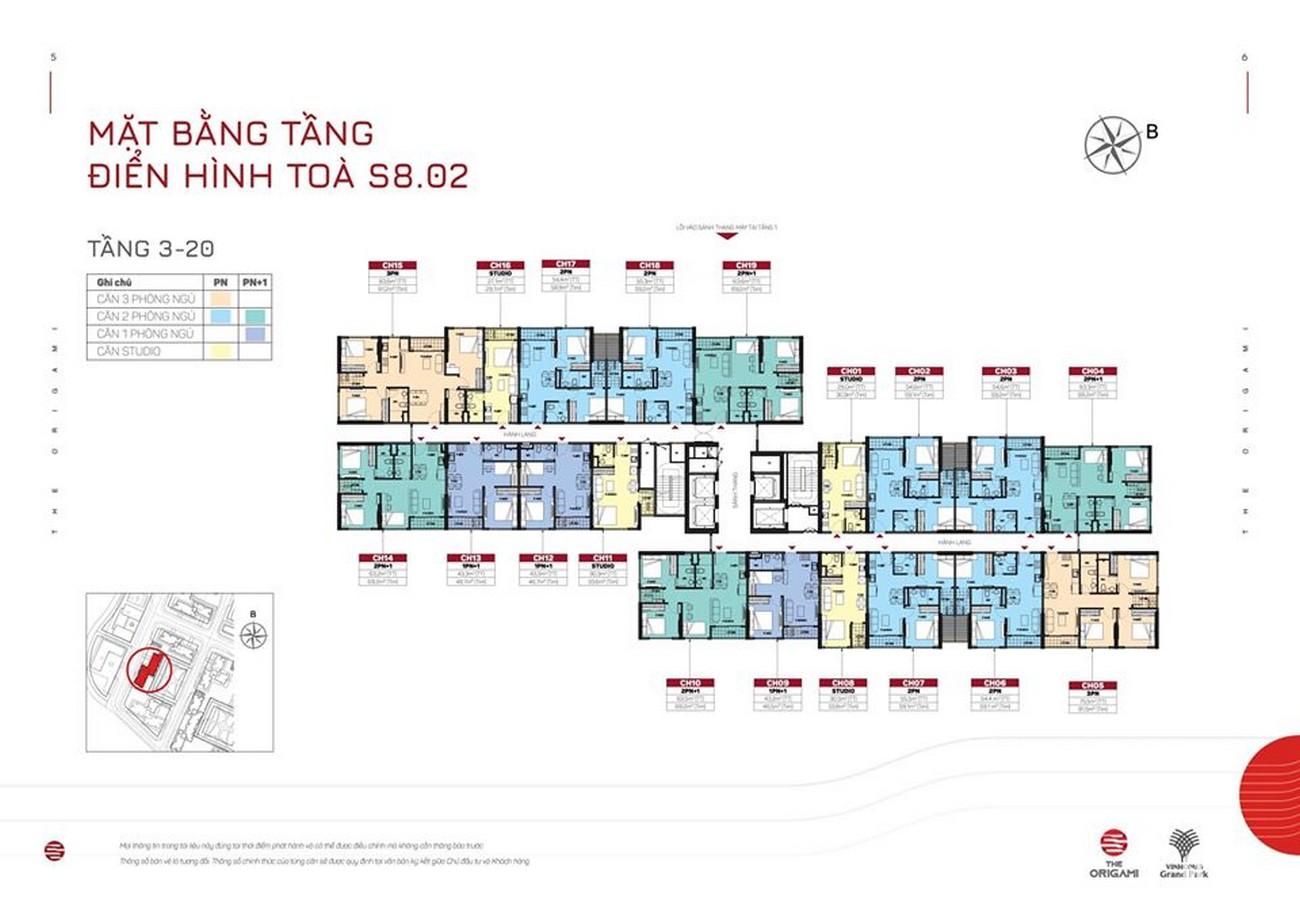 Mặt bằng tòa S8.02 dự án căn hộ chung cư The Origami Quận 9 Đường Nguyễn Xiển chủ đầu tư Vingroup