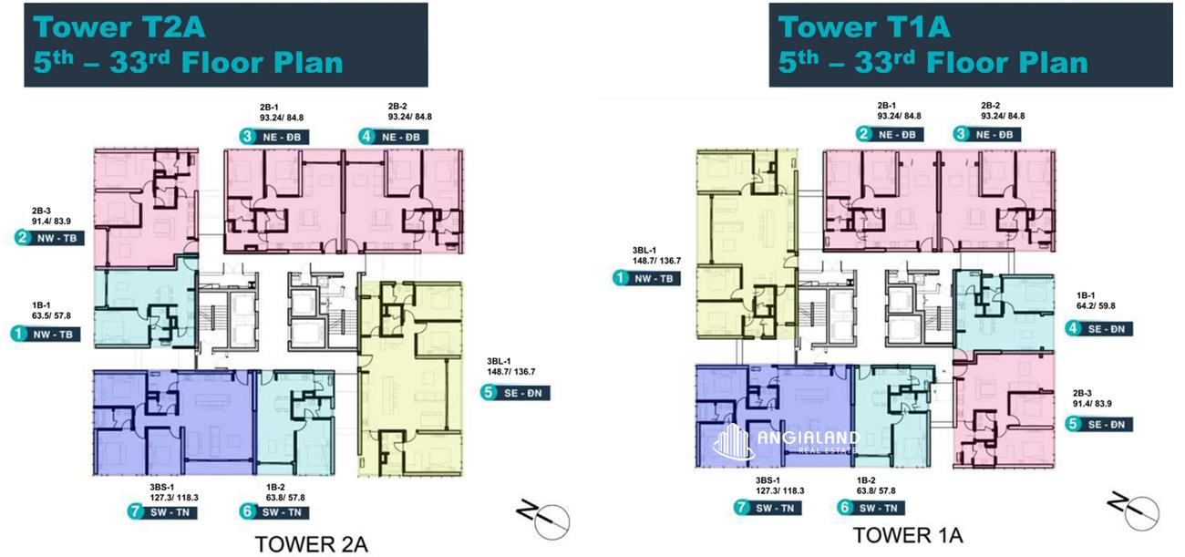 Mặt bằng tòa T1A & T2A Linden Residences Empire City Thủ Thiêm Quận 2