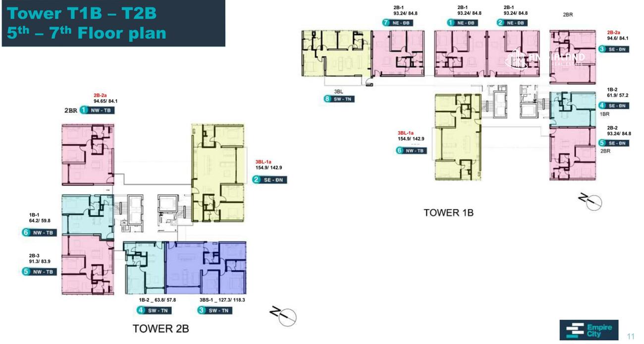 Mặt bằng tòa T1B & T2B Linden Residences Empire City Thủ Thiêm Quận 2