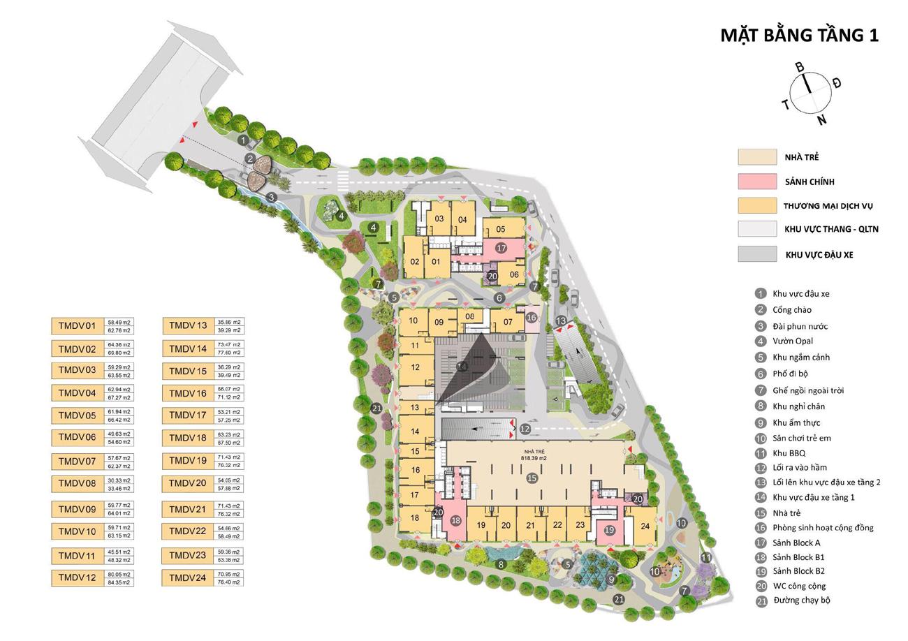 Mặt bằng tầng 1 căn hộ chung cư Opal SKyline Lái Thiêu TP Thuận An Tỉnh Bình Dương CĐT Đất Xanh