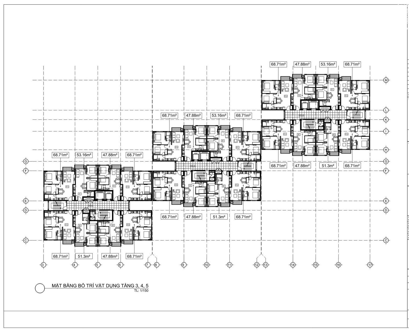 Mặt bằng tầng 3,4,5, dự án căn hộ chung cư An Gia Star Quận Bình Tân Đường Quốc Lộ 1A chủ đầu tư An Gia Investment