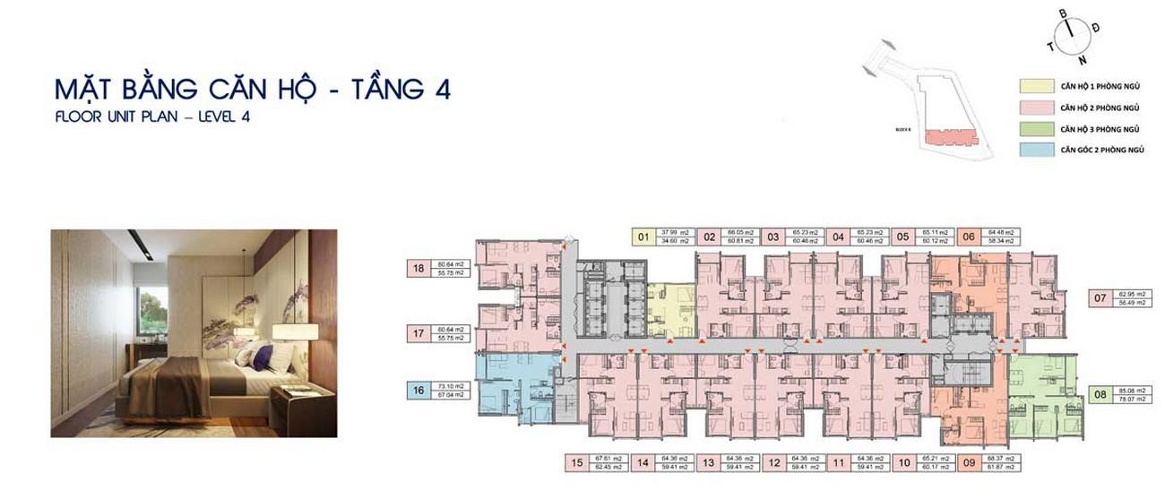 Mặt bằng tầng 4 dự án Căn Hộ chung cư Opal Skyline Thuận An Đường Quốc lộ 13 chủ đầu tư Đất Xanh Group