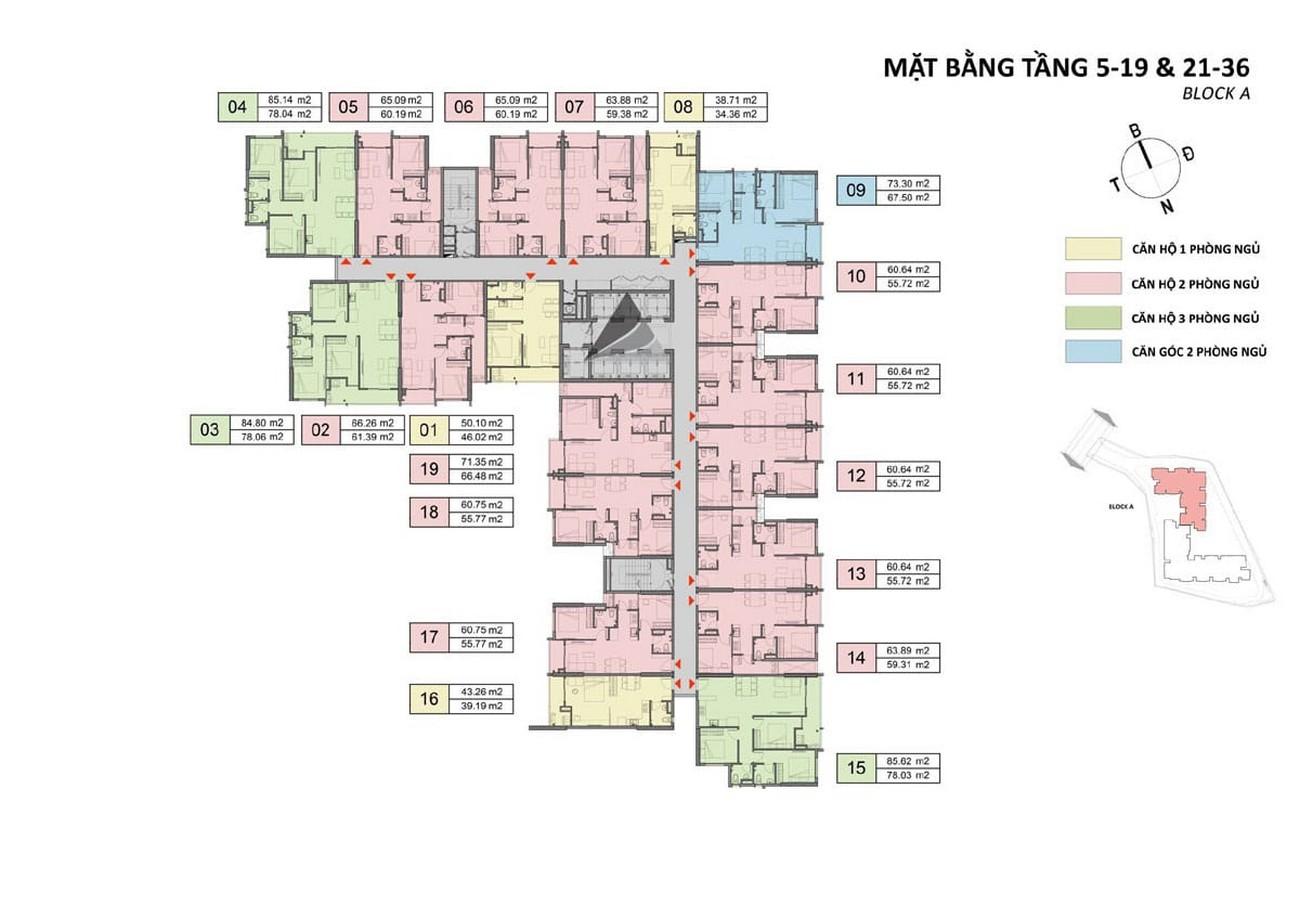 Mặt bằng tầng 5,19,21,36 block A dự án Căn Hộ chung cư Opal Skyline Thuận An Đường Quốc lộ 13 chủ đầu tư Đất Xanh Group