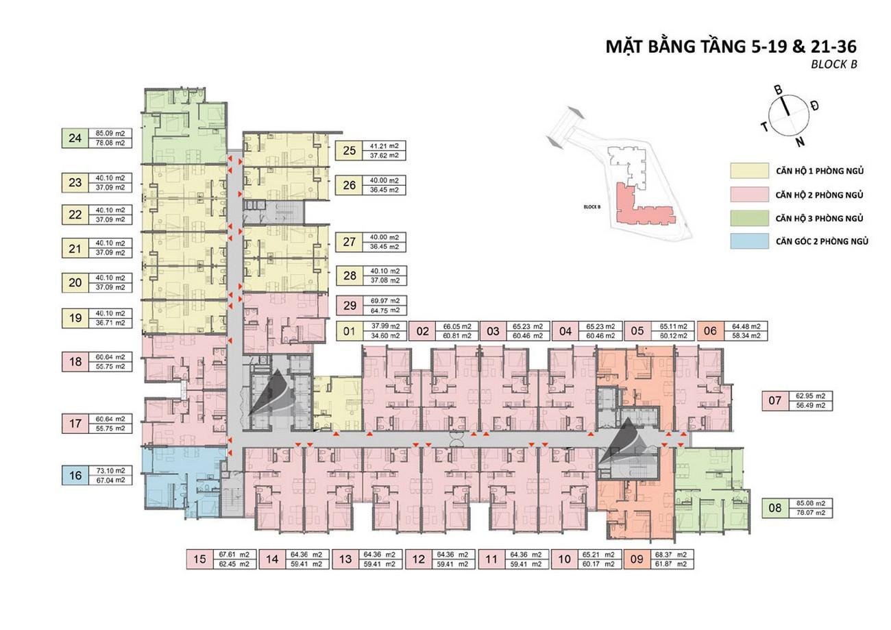 Mặt bằng tầng 5,19,21,36 block B dự án Căn Hộ chung cư Opal Skyline Thuận An Đường Quốc lộ 13 chủ đầu tư Đất Xanh Group