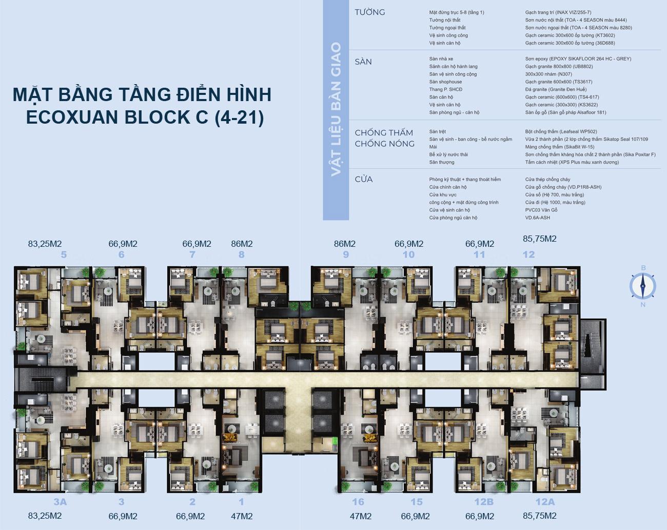 Mặt bằng tầng 4-21 Block C dự án căn hộ chung cư EcoXuan Lái Thiêu Bình Dương