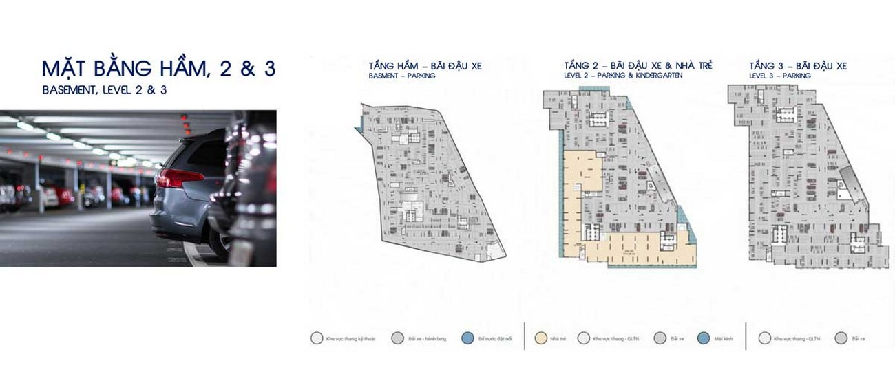 Mặt bằng tầng hầm và tầng 2,3 dự án Căn Hộ chung cư Opal Skyline Thuận An Đường Quốc lộ 13 chủ đầu tư Đất Xanh Group