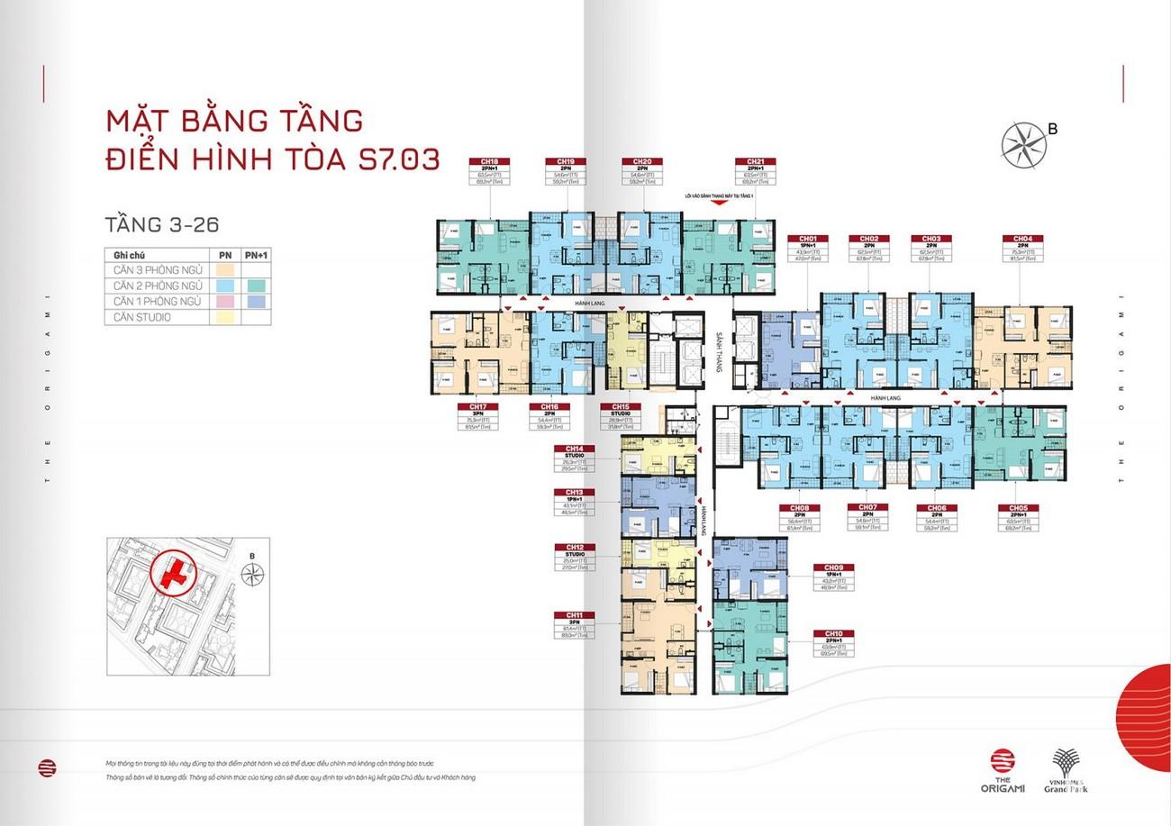 Mặt bằng tòa S7.03 dự án căn hộ chung cư The Origami Quận 9 Đường Nguyễn Xiển chủ đầu tư Vingroup