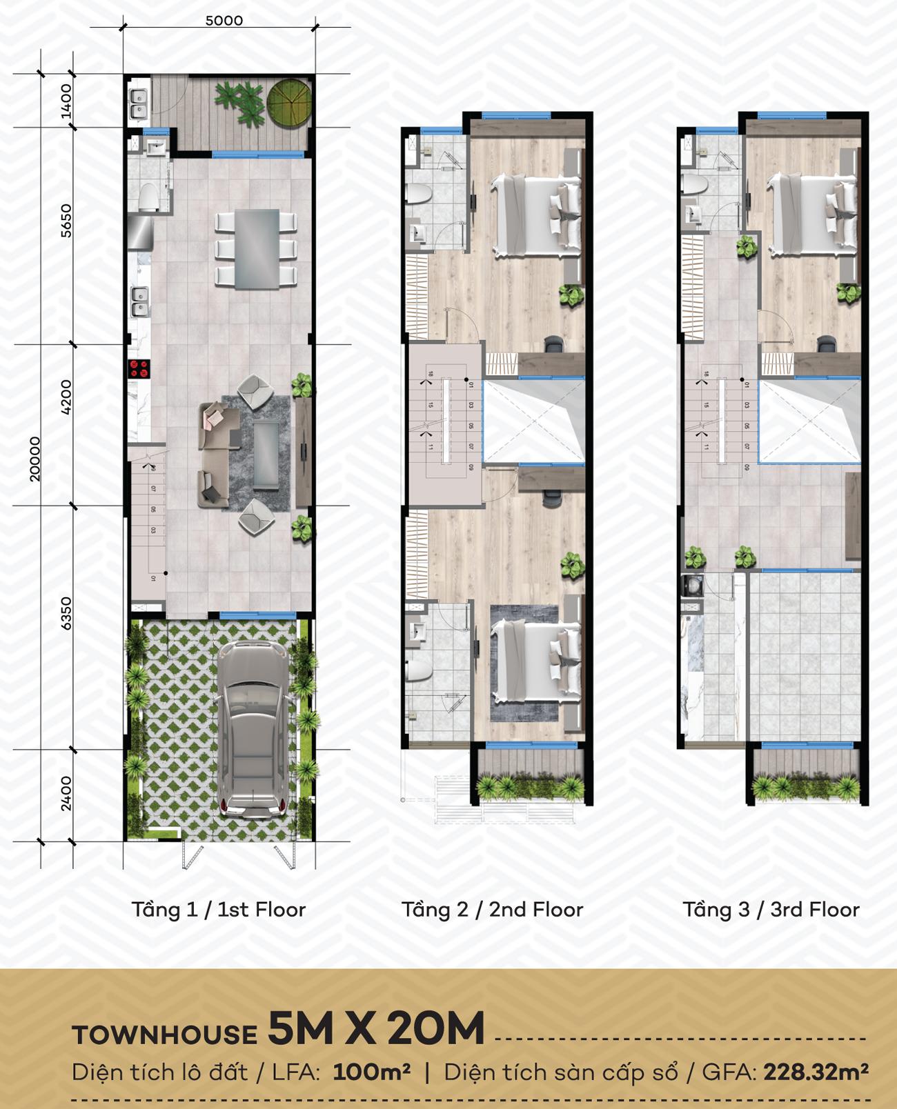 Thiết kế chi tiết dự án nhà phố The Standard Central Park diện tích đất 5x20m